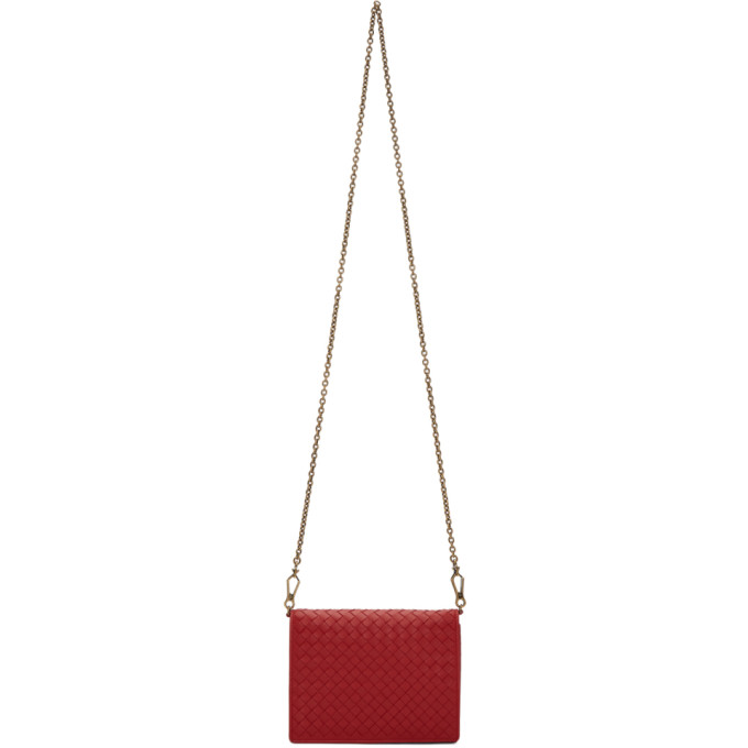 Bottega Veneta Red Intrecciato Chain Wallet Bag