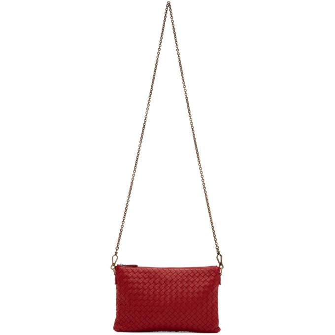 Bottega Veneta Red Intrecciato Pouch Bag