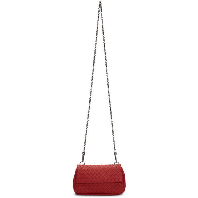 Bottega Veneta Red Bottom Zip Chain Flap Bag