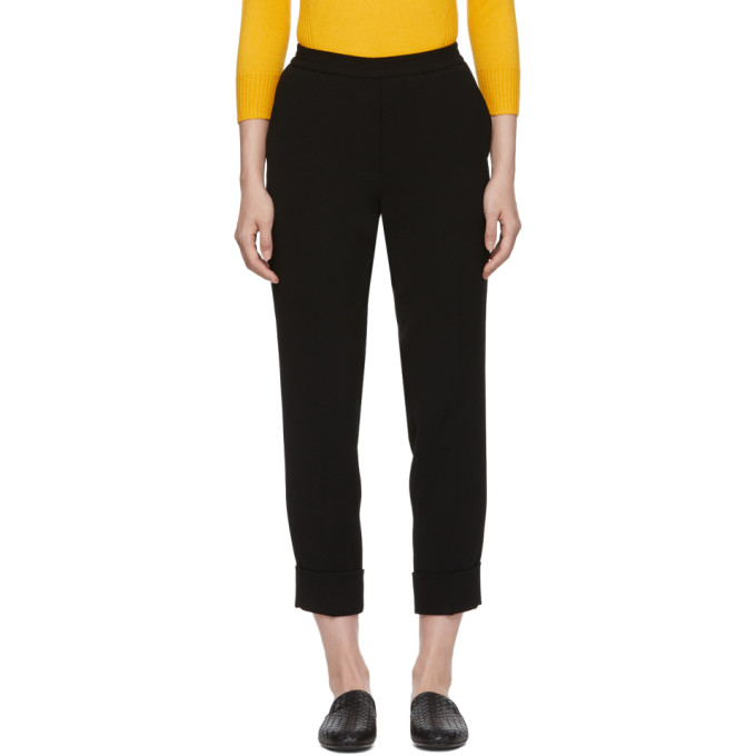 Image of Bottega Veneta Black Crepe Cuffs Cropped Trousers