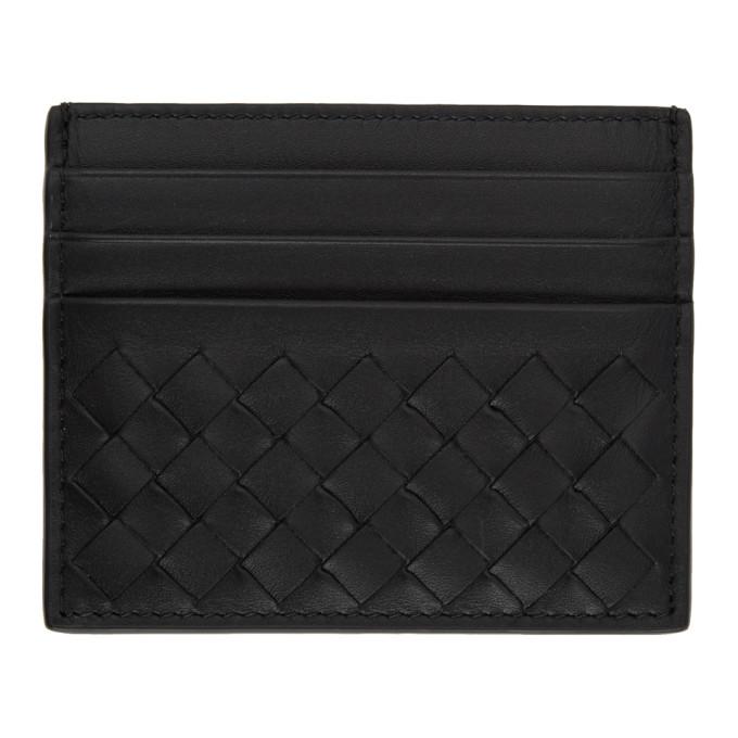 Image of Bottega Veneta Black Classic Intrecciato Card Holder