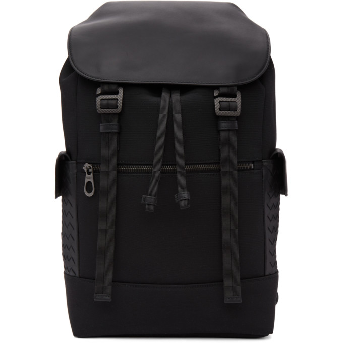 BOTTEGA VENETA Black Flap Backpack