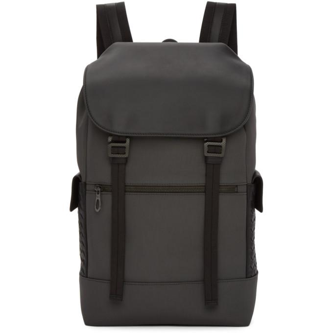 Bottega Veneta Grey Canvas Flap Backpack