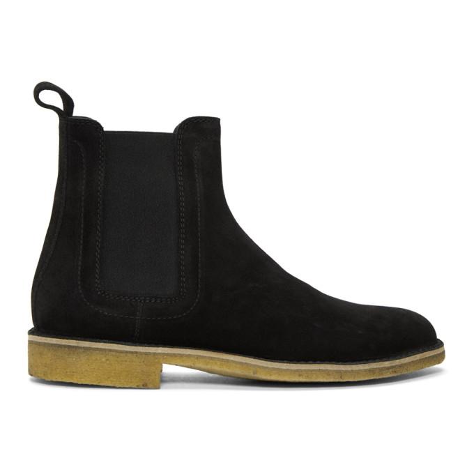 Bottega Veneta Black Suede Chelsea Boots