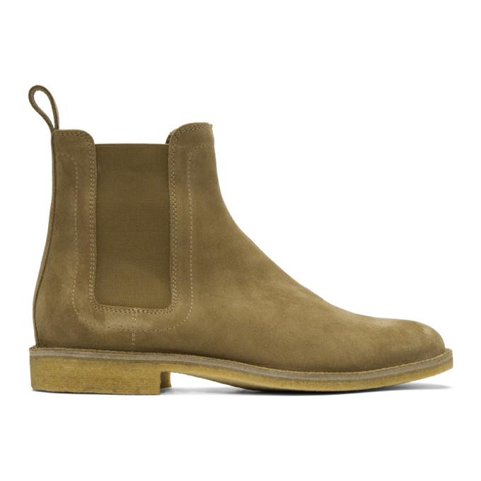 Bottega Veneta Tan Suede Chelsea Boots