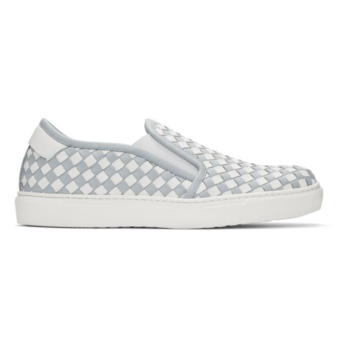 Bottega Veneta Blue & White Intrecciato Slip-On Sneakers
