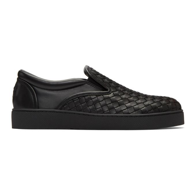 Bottega Veneta Black Classic Intrecciato Slip-On Sneakers