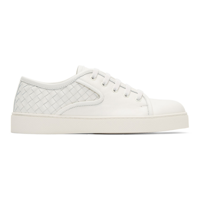 Bottega Veneta White Classic Intrecciato Sneakers