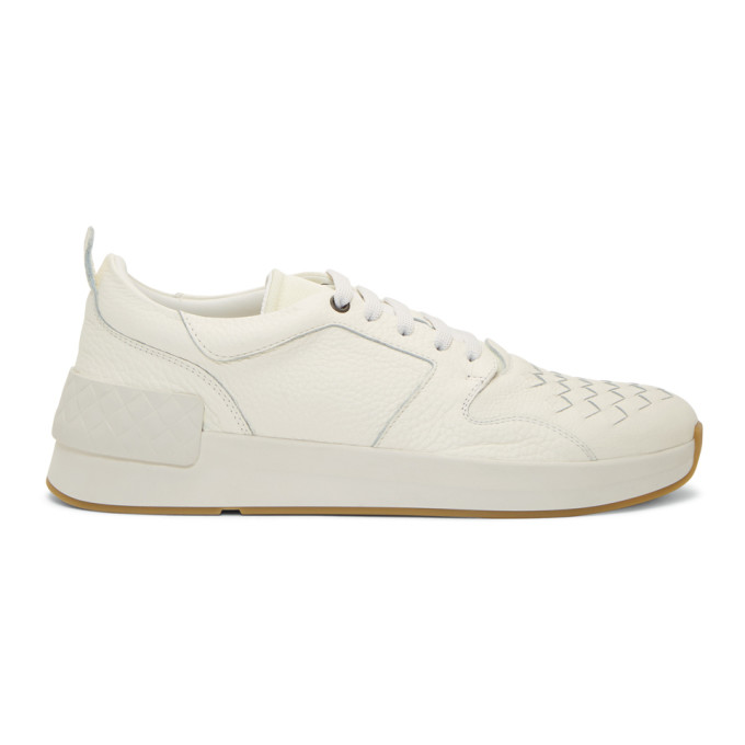 Bottega Veneta White Intrecciato Grand Sneakers