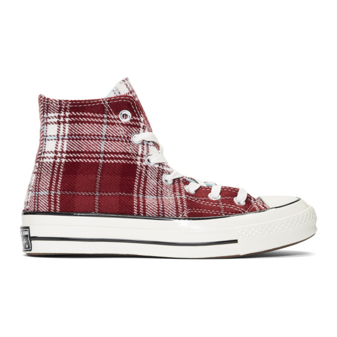 969e656db027 Converse Chuck 70 Plaid High Top Sneakers In Dark Burgundy/Multi ...