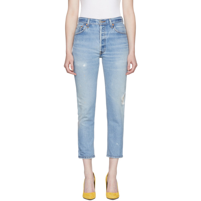 Re/Done Indigo High-Rise Ankle Crop Jeans