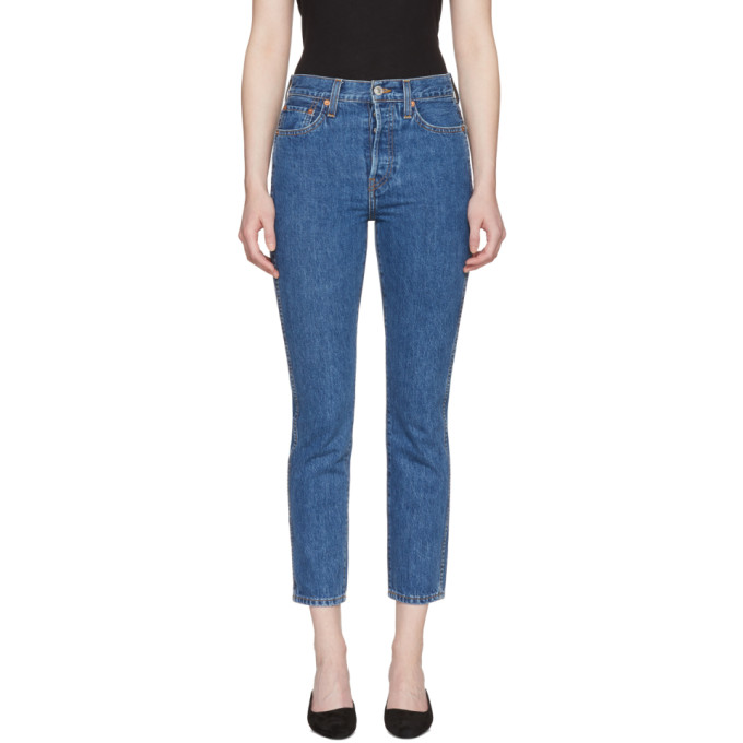 Re/Done Blue Originals Double Needle Crop Jeans