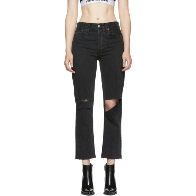 Re/Done Black Originals Stove Pipe Ripped Jeans