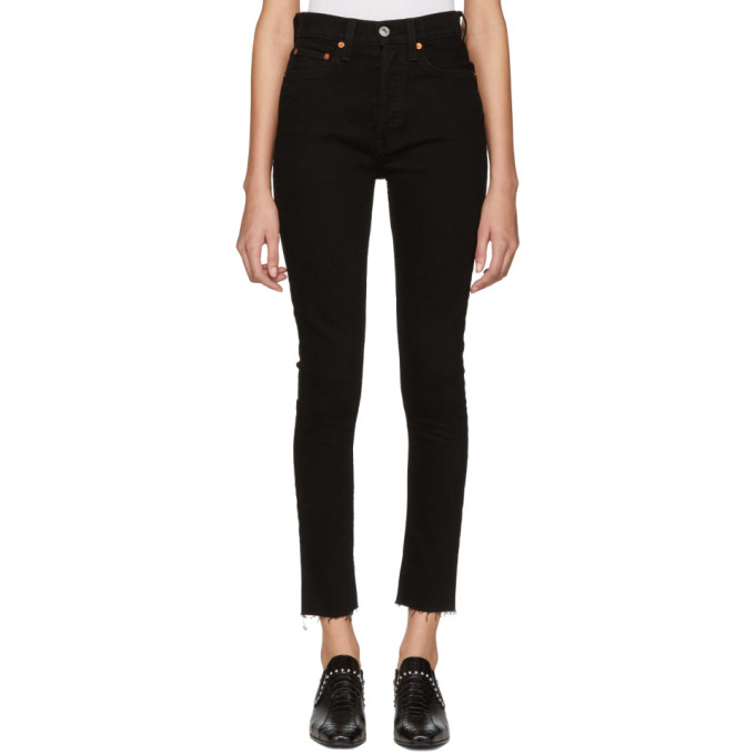 Image of Re/Done Black Originals High-Rise Ankle Crop Jeans
