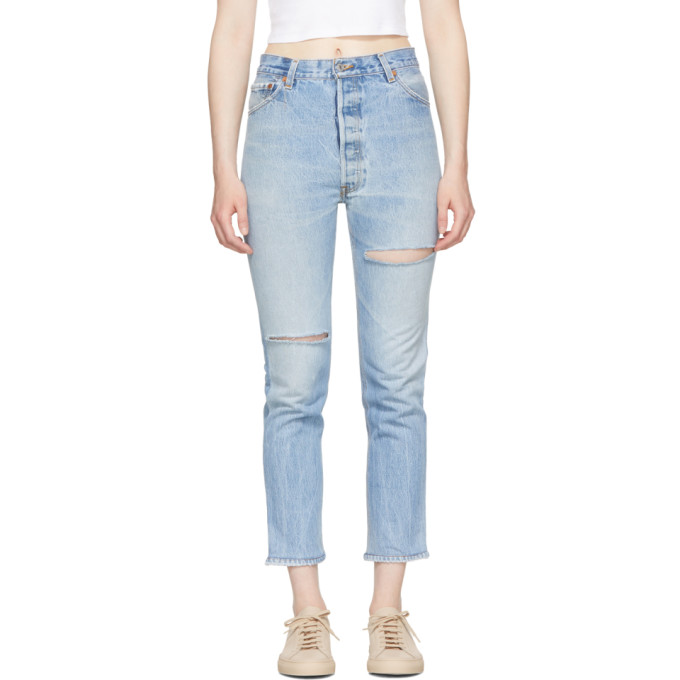 Re/Done Indigo Levi's Edition High-Rise Ankle Crop Jeans
