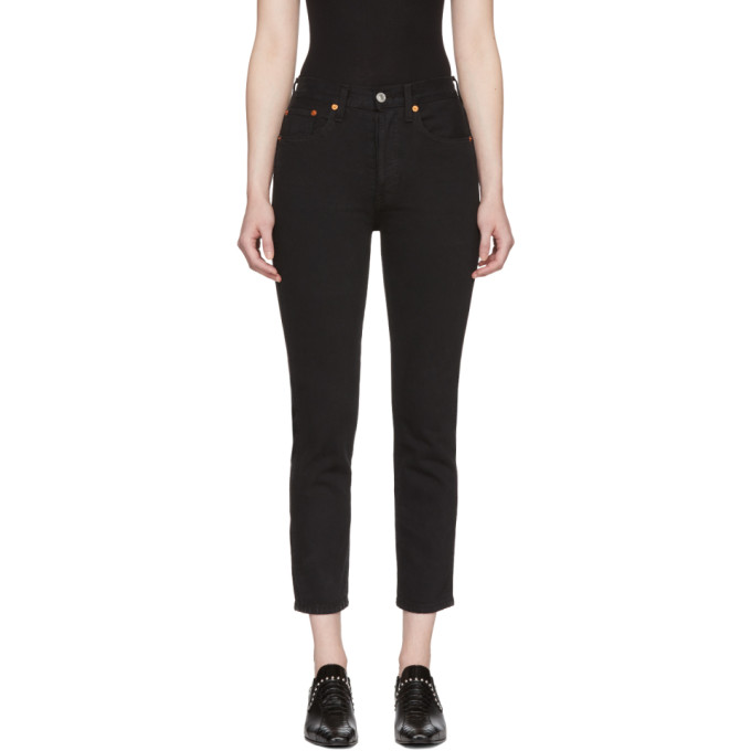 Re/Done Black Originals Double Needle Crop Jeans
