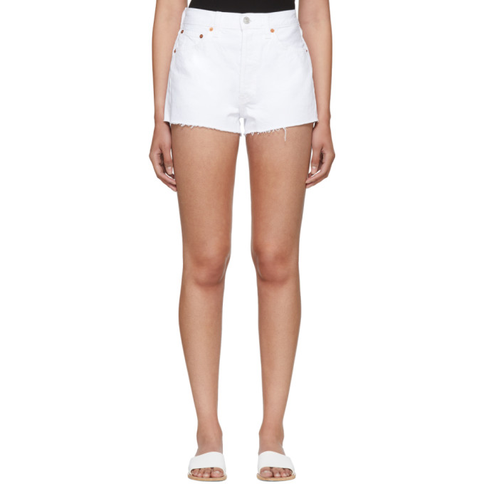 Re/Done White Originals Denim Shorts