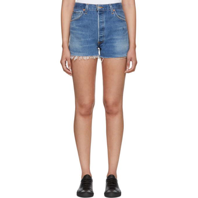 Re/Done Indigo Levi's Edition Side Zip Denim Shorts