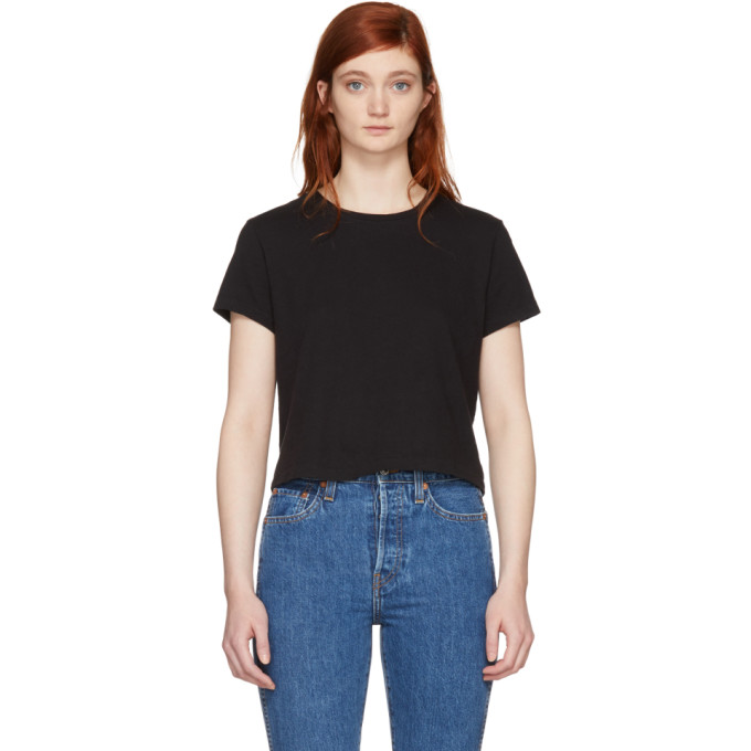 Image of Re/Done Black Hanes Edition 1950's Boxy T-Shirt