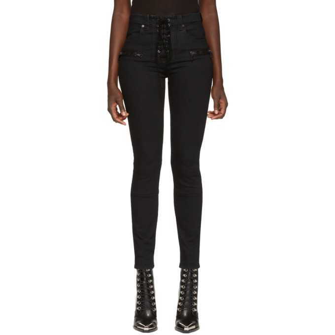 Image of Unravel Black Lace Up Waxed Jeans