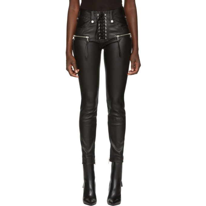 Image of Unravel Black Leather Lace-Up Pants