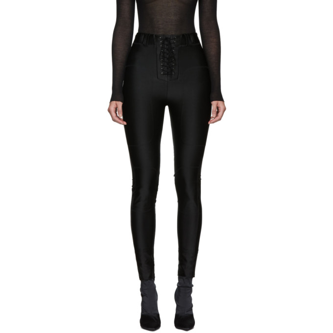 Image of Unravel Black Viscose Lace-Up Trousers