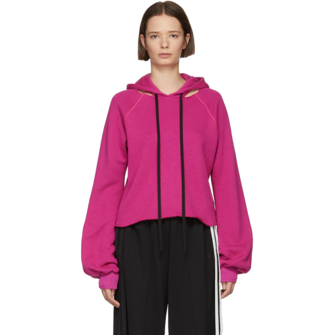 UNRAVEL Unravel Pink Cotton And Cashmere Hoodie in Fucshia