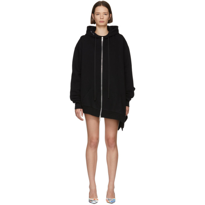 Ben Taverniti Unravel Project UNRAVEL BLACK TERRY BRUSHED ASYMMETRIC ZIP HOODIE
