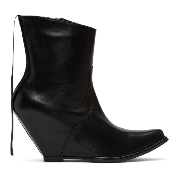 Image of Unravel Black Leather Low Platform Boots