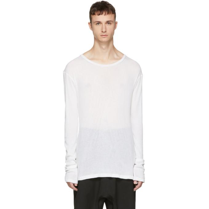 Unravel ホワイト ロング スリーブ リブ エロンゲイト T シャツ