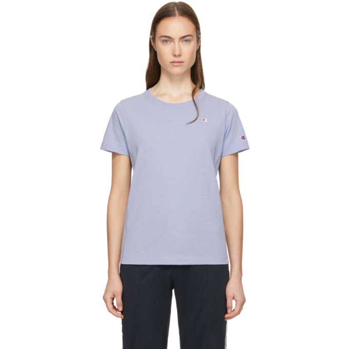 Image of Champion Reverse Weave Blue Small Logo T-Shirt