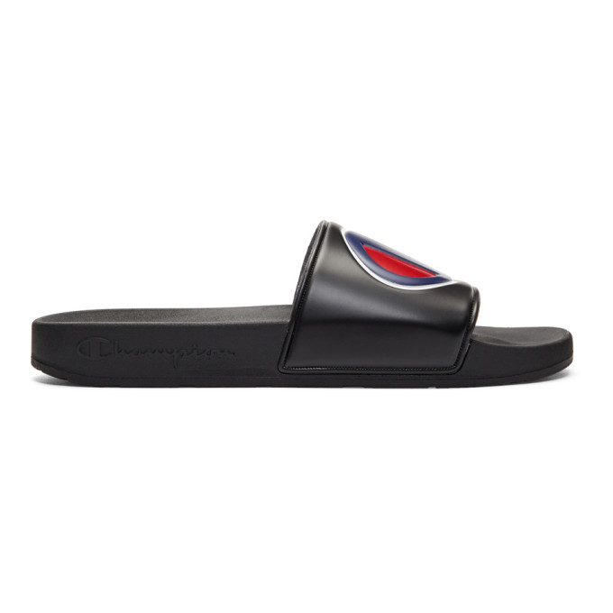Champion Reverse Weave Black Logo Pool Slides