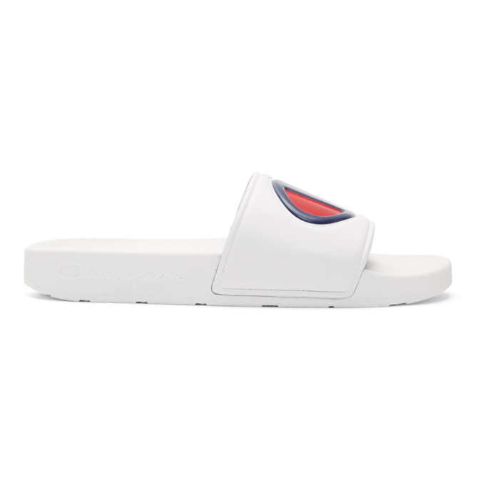 Champion Reverse Weave White Logo Pool Slides
