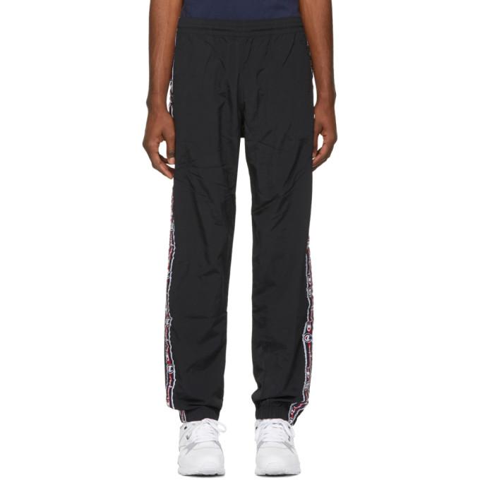 e04248f0a1dfe5 Champion Reverse Weave Black Jacquard Logo Tape Track Pants