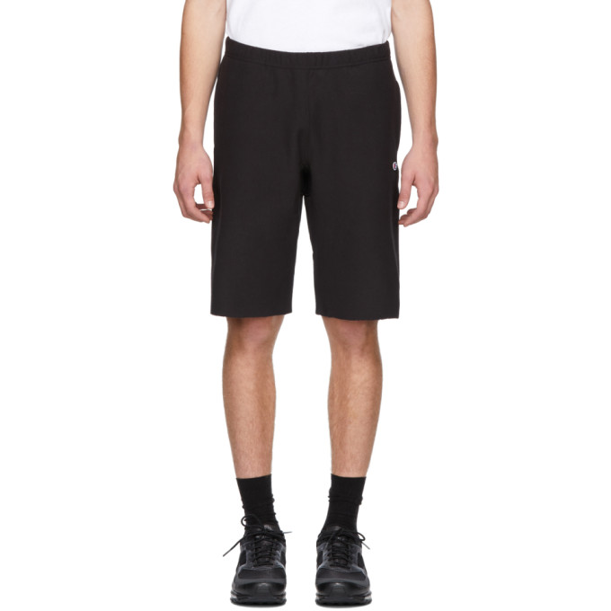 Image of Champion Reverse Weave Black Logo Bermuda Shorts