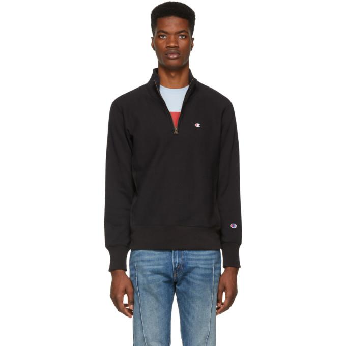 56d5c18c3736 CHAMPION. Champion Reverse Weave Black Half-Zip Turtleneck Sweatshirt ...