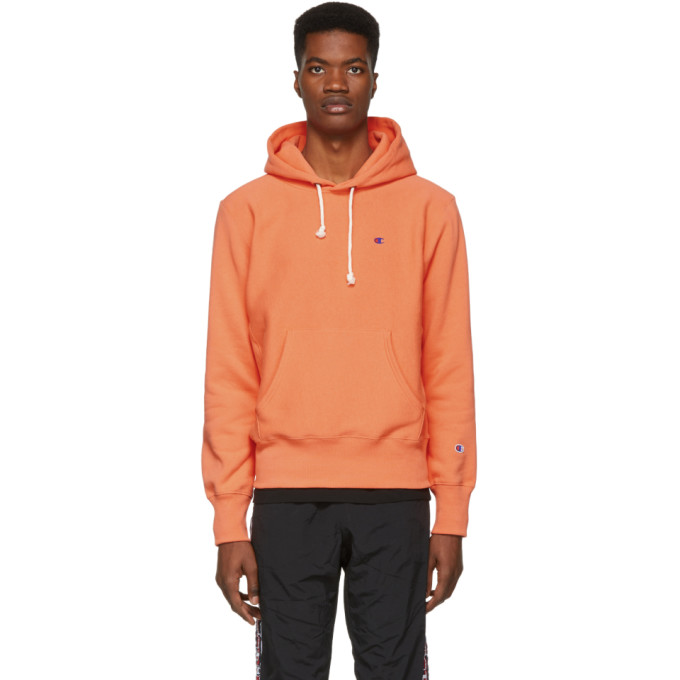 Image of Champion Reverse Weave Orange Logo Hoodie