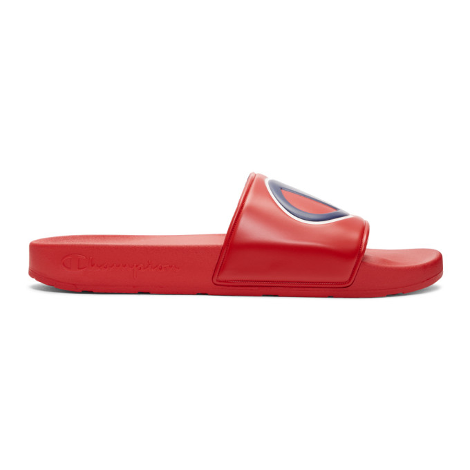 Champion Reverse Weave Red Logo Pool Slides