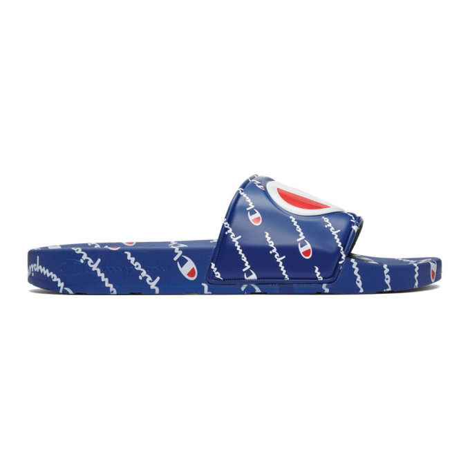 Champion Reverse Weave Blue Repeat Logo Slides