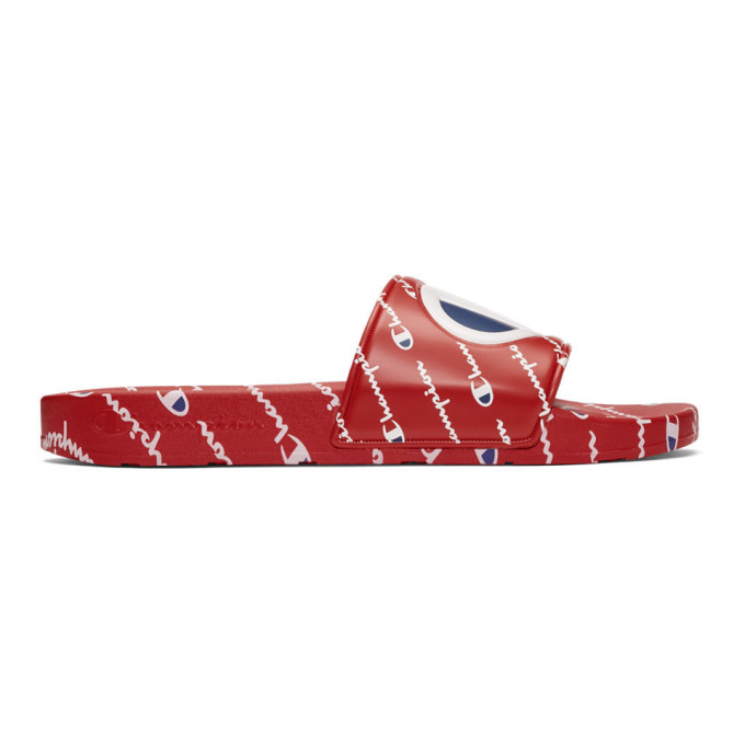 Champion Reverse Weave Red Repeat Logo Slides