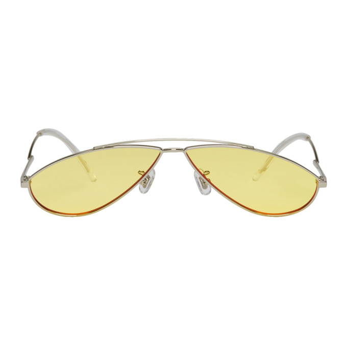 Image of Gentle Monster Silver & Yellow Kujo Sunglasses