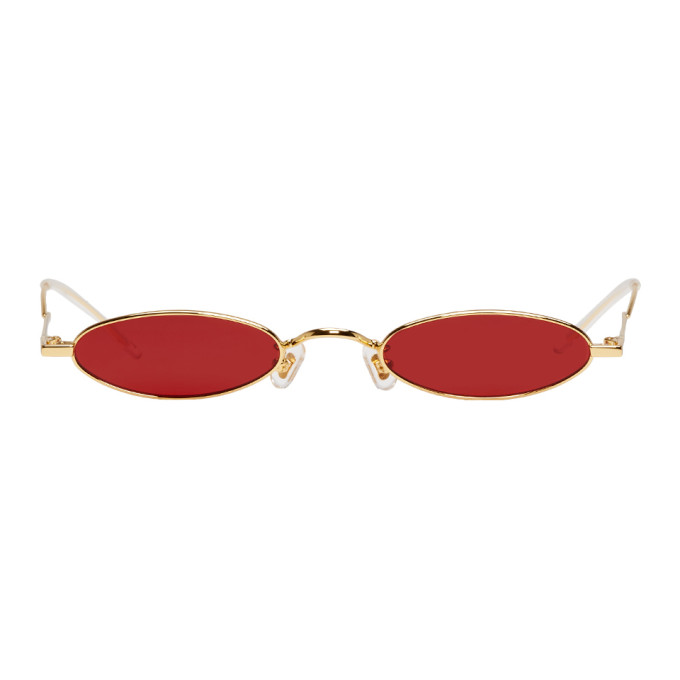 Image of Gentle Monster Gold & Red Vector Sunglasses