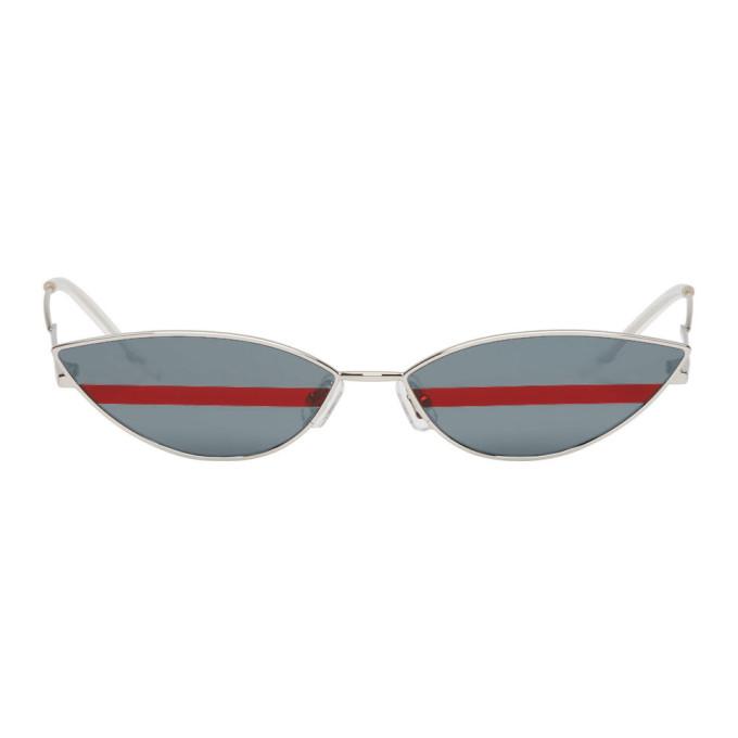 GENTLE MONSTER Gentle Monster Silver Stripe Poxy Sunglasses in Blue/Red