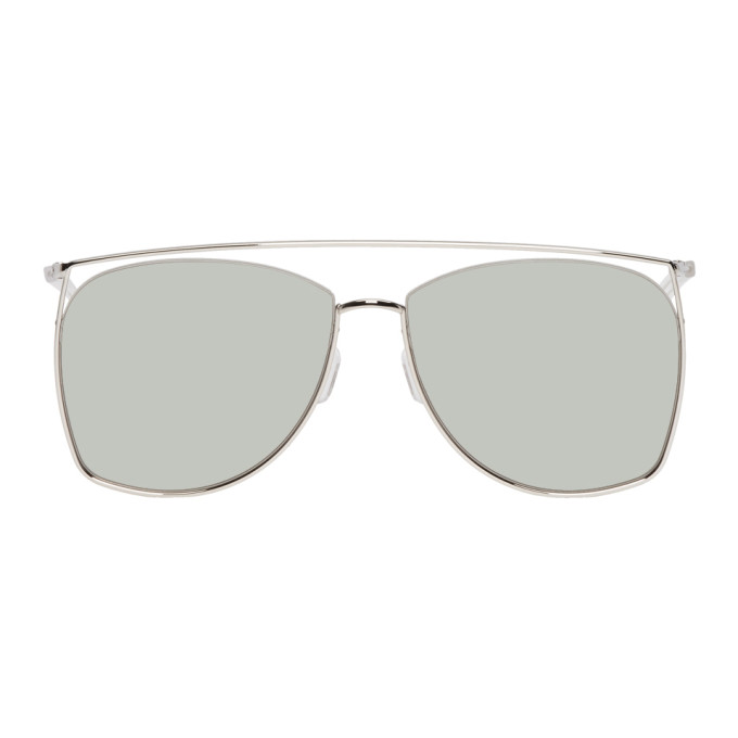 GENTLE MONSTER Gentle Monster Silver And Khaki Tick Tock Sunglasses in 02(K) Silve