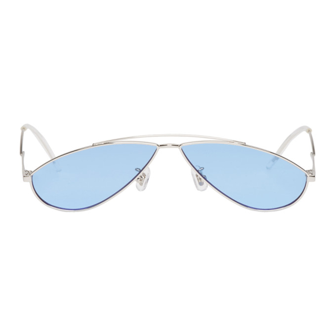GENTLE MONSTER Gentle Monster Silver And Blue Kujo Sunglasses in 02(B) Silvr