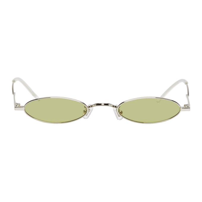 GENTLE MONSTER Gentle Monster Silver And Green Vector Sunglasses in 02(Ol) Silv