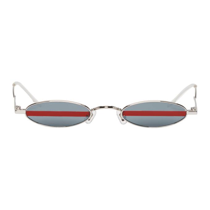 GENTLE MONSTER Gentle Monster Silver Stripe Vector Sunglasses in 02 R Red