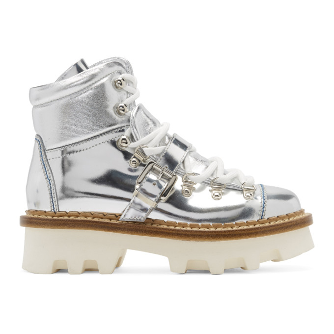 Moncler Grenoble Silver Winter Hiking Boots