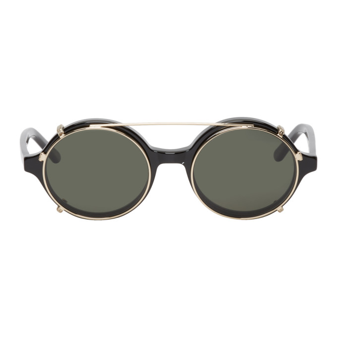 Image of Han Kjobenhavn Black & Gold Doc Clip-On Sunglasses