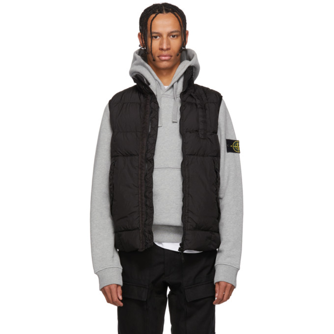Image of Stone Island Black Crinkle Down Vest